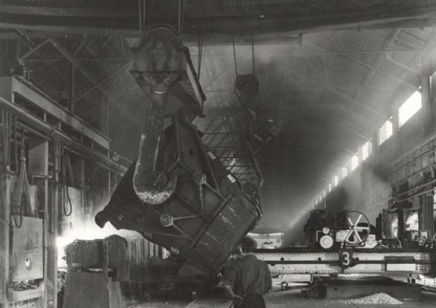 Scrap ladle charging the BOS steelmaking furnace.