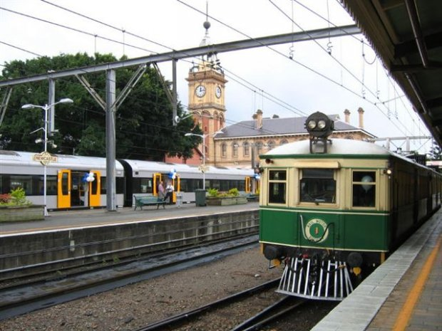 "The Old and the New at Newcastle Station.  ""Tin Hare"" rail motor rides between Newcastle and Civic Stations on the day."