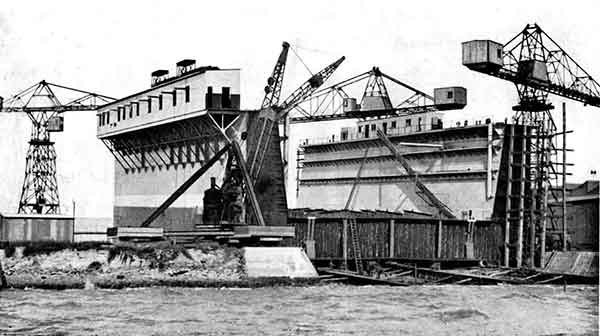 Floating dock under constrution at Walsh Island