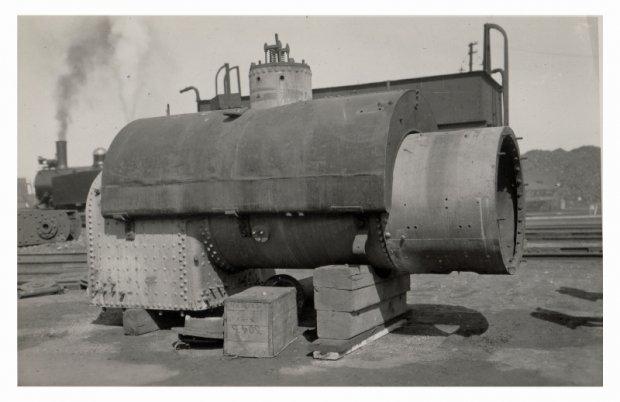 Loco Boiler waiting repairs. 1939.     Ex Steam tram motor used for tar heating: