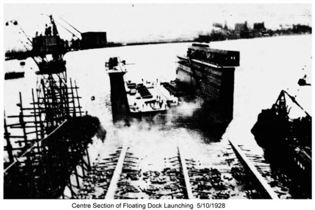 The floating dock in the photo is dock that was built at Walsh Island Dockyard.