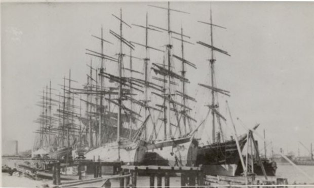 Sailing Ships moored at Stockton