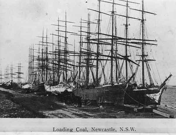 Coal ships awaiting loading.