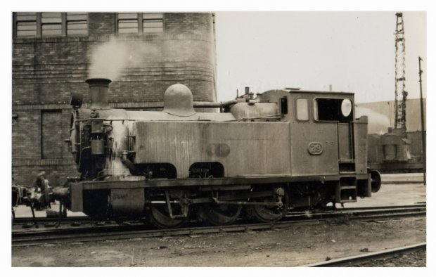 Loco 29, notice Steam Crane in background.  1949.