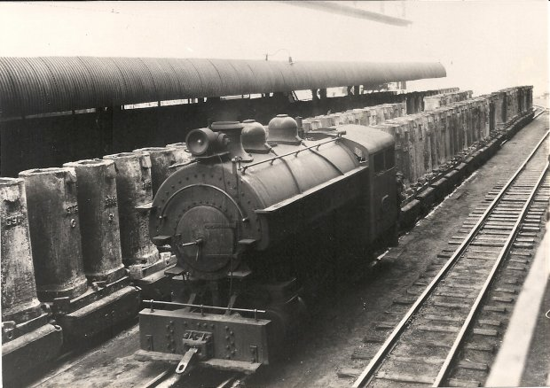 Steam at the Narrow Gauge with a train of Ingot Molds.