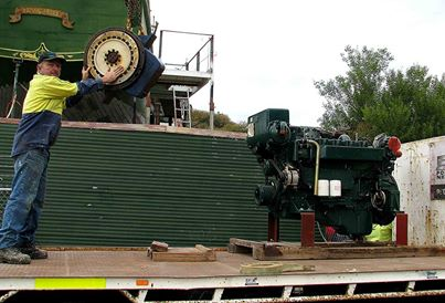 Ready to go in:The main engine and gearbox take a trip to the UGM workshop to have hydraulic pump fitted prior to installation into the ship. Another great sponsorship effort.