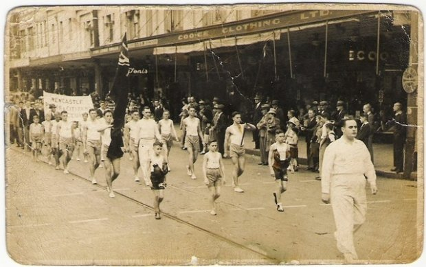 Newcastle Police Boys Club, march down Hunter Street, 1942