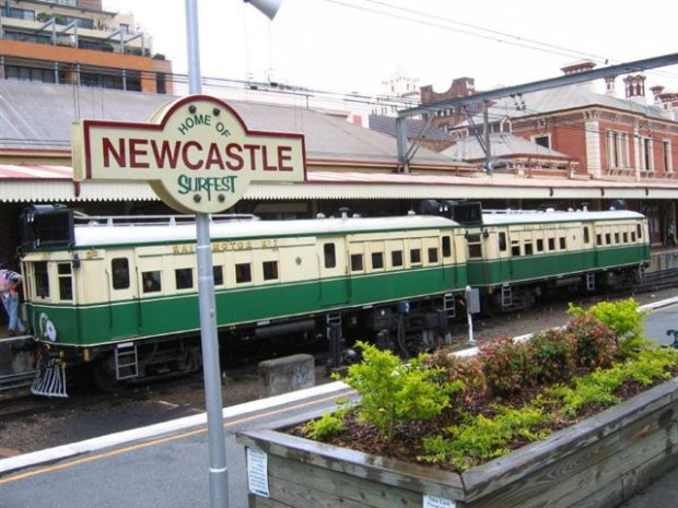 """Tin Hare"" rail motor rides between Newcastle and Civic Stations on the day."
