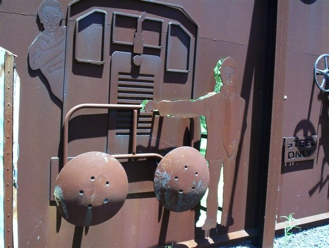 Inside the Muster Point, depicting the rail workers, and includes buffers from loco 47.