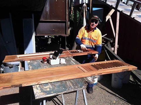 All the cedar doors on the ship have been restored by Richard and members of Wangi mens shed and are being lacquered by Peter Sherlock as they are installed back on the ship. Work is progressing well for a re-launch later in the year.