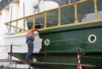 Final coat: Signal Green. It's spreading rapidly around the ship. Starting to look like the good old days.