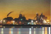 Newcastle Steelworks at night viewed from Kooragang Island.