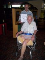 Arthur. 92.5 years young with his carer.  Arthur attended the 2005 reunion.